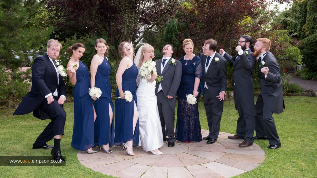 The wedding party, bridesmaids and groomsmen